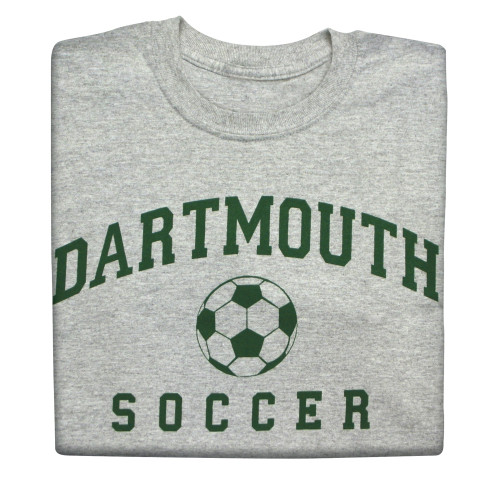 Youth grey short sleeve tee with 'Dartmouth Soccer' across the chest in green