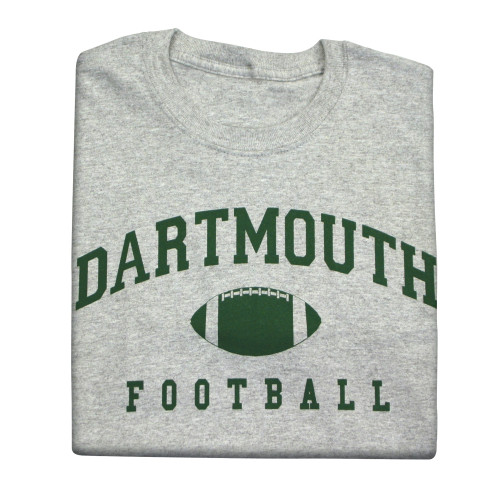 Youth grey short sleeve tee with 'Dartmouth Football' across the chest in green