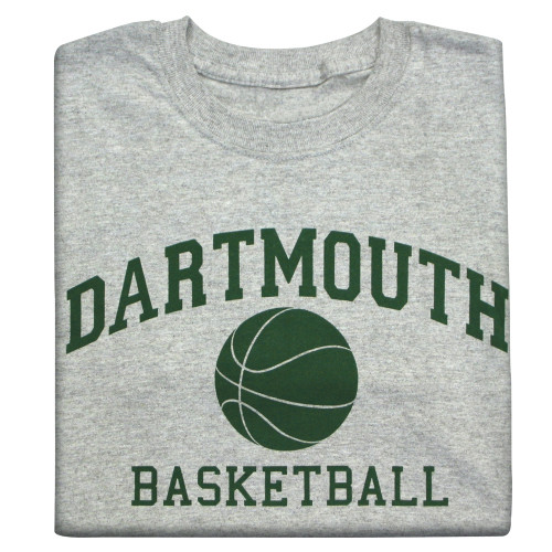Youth grey short sleeve tee with 'Dartmouth Basketball' across the chest in green