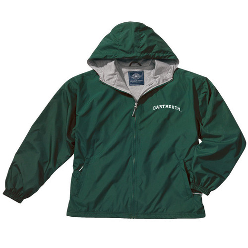 Green hooded full zip jacket with 'Dartmouth' across the left chest in white