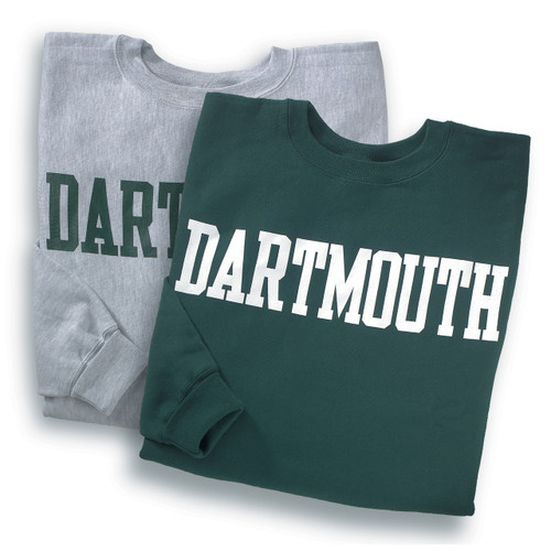Grey or green crewneck sweatshirt with 'Dartmouth' across the chest in either green or white
