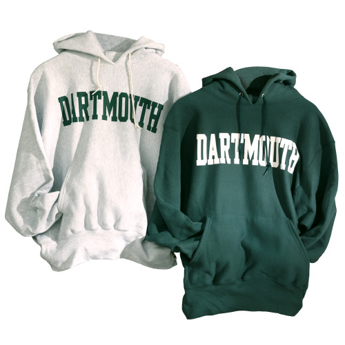 Grey or green hooded sweatshirt with 'Dartmouth' across the chest in either green or white