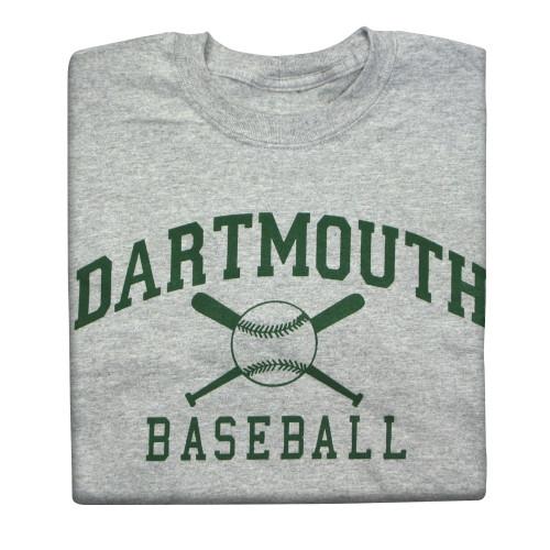 Grey short sleeve tee with 'Dartmouth Baseball' across the chest in green