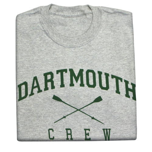 Grey short sleeve tee with 'Dartmouth Crew' across the chest in green