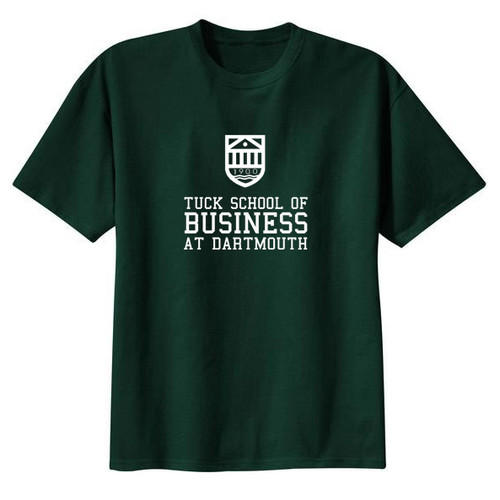 Green short sleeve tee with Tuck Shield and 'Tuck School of Business at Dartmouth' across the chest in white