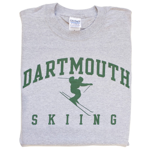 Grey short sleeve tee with 'Dartmouth Skiing' across the chest in green
