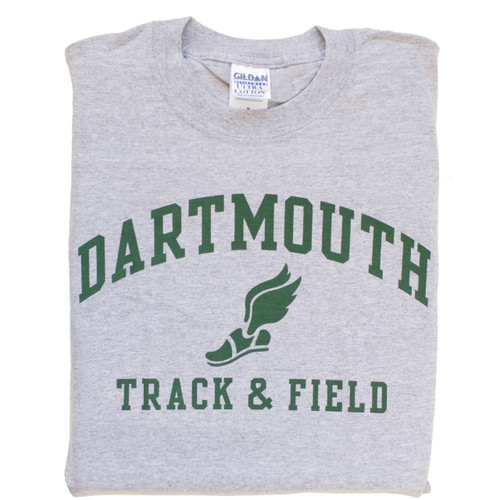 Grey short sleeve tee with 'Dartmouth Track and Field' across the chest in green