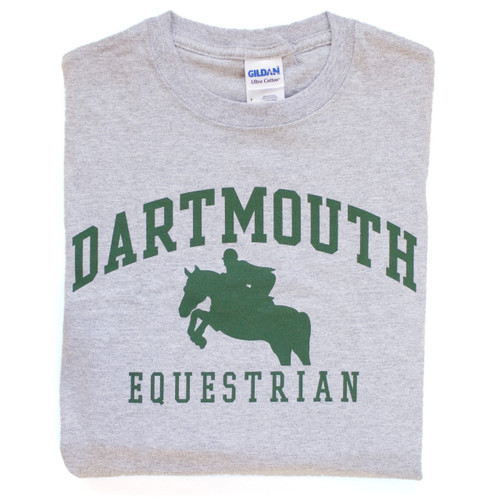 Grey short sleeve tee with 'Dartmouth Equestrian' across the chest in green