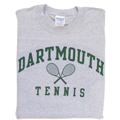 Grey short sleeve tee with 'Dartmouth Tennis' across the chest in green