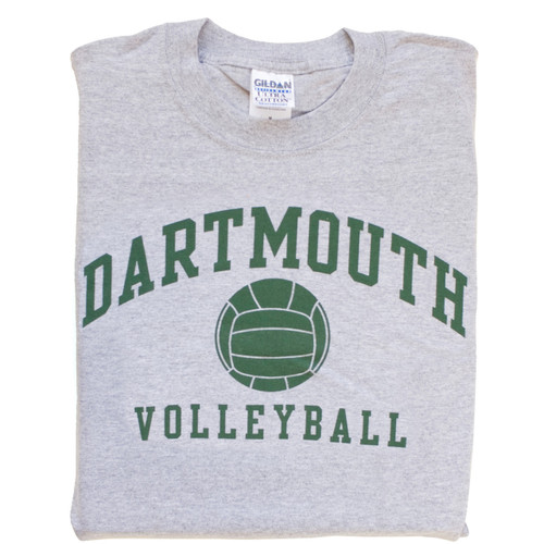 Grey short sleeve tee with 'Dartmouth Volleyball' across the chest in green