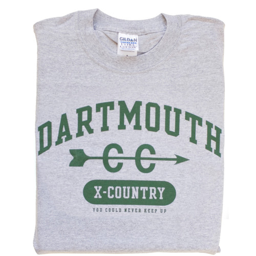 Grey short sleeve tee with 'Dartmouth Cross Country' across the chest in green