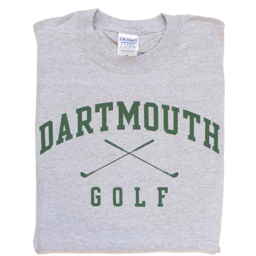 Grey short sleeve tee with 'Dartmouth Golf' across the chest in green