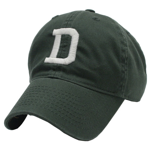 Green hat with white 'D' in the center