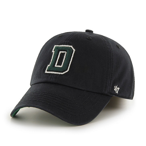 Black hat with green and white 'D' across the center