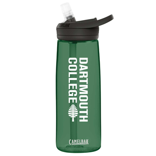 Green CamelBak water bottle with 'Dartmouth College' down the side in white with a lone pine