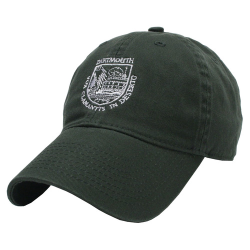 Green hat with Dartmouth Shield in white across the center