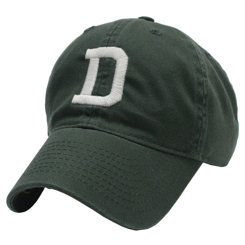 Toddler green hat with white 'D' in the center