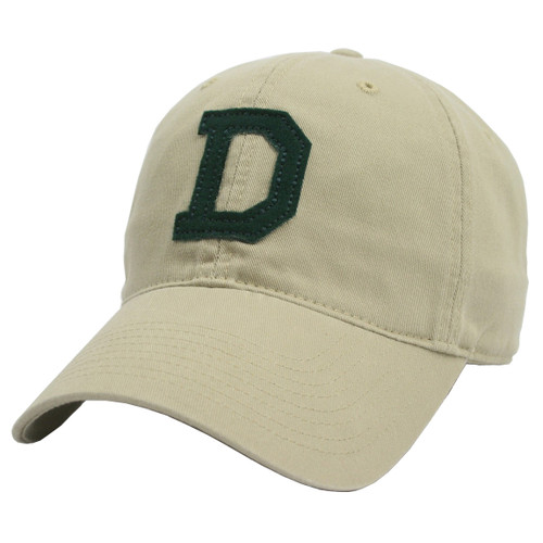 Khaki colored hat with green felt 'D' in the center
