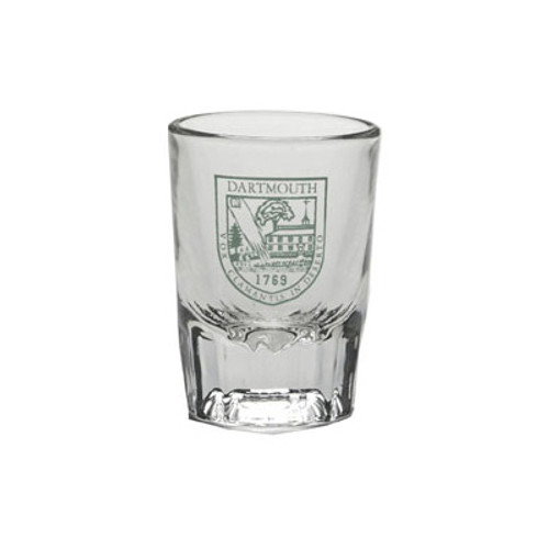 Fluted shot glass with Dartmouth Shield in green