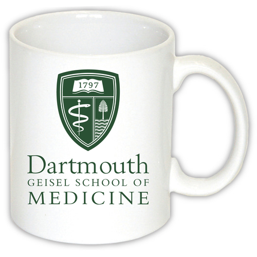 White mug with Geisel Shield and 'Dartmouth Geisel School of Medicine' in green