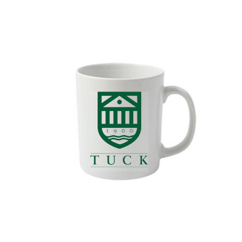 White mug with Tuck Shield and 'Tuck' in green