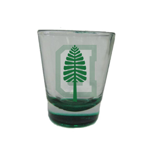 Clear glass shot glass with green bottom and 'D' and lone pine on either side in green and white