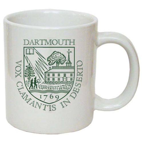 White mug with Dartmouth Shield in green