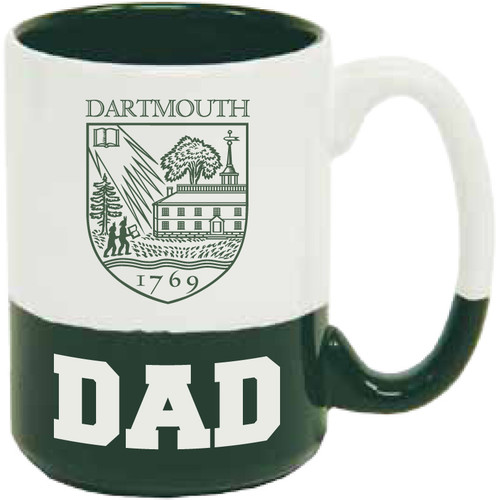 White and green mug with Dartmouth Shield and 'Dad' in green and white