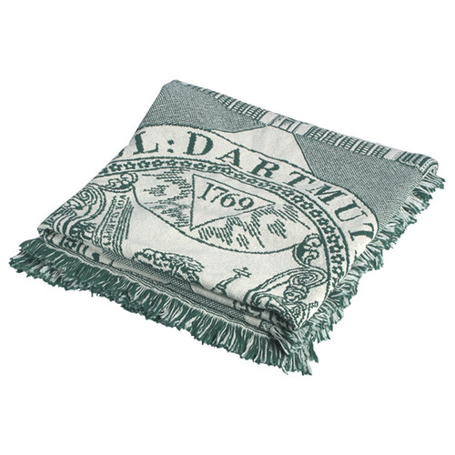 Dartmouth woven cotton throw blanket in green and white