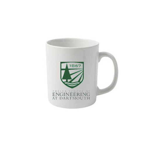 White mug with Thayer Shield and 'Thayer School of Engineering at Dartmouth' in green