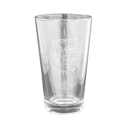 Crystal etched pint with Dartmouth Shield