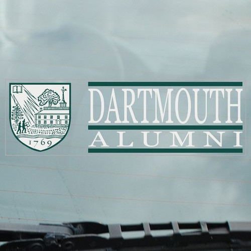 'Dartmouth Alumni' decal with Dartmouth shield in green and white