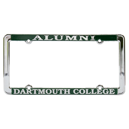 Green and white 'Alumni Dartmouth College' license plate holder
