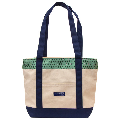 Vineyard Vines canvas tote with green lone pine border at the top