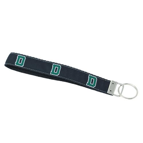 Black cotton web key chain with D