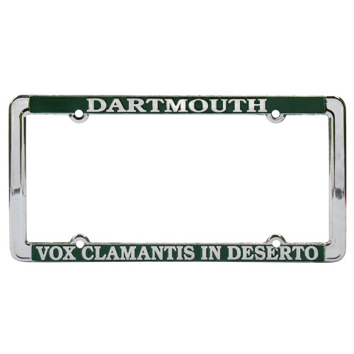 License plate holder with 'Dartmouth Vox Clamantis In Desterto in white
