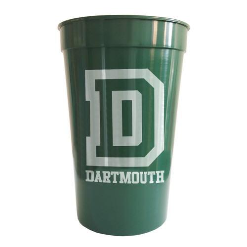 Green plastic cup with big 'D' and 'Dartmouth' on the side in white