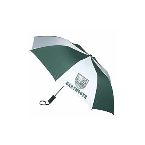 Green and white umbrella with 'Dartmouth' and Dartmouth shield in green