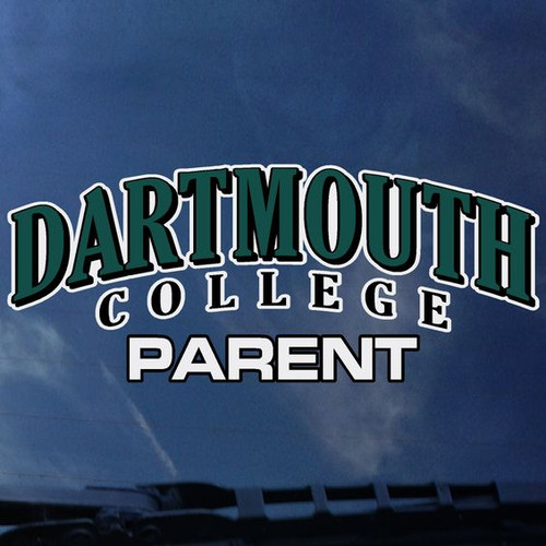 'Dartmouth College Parent' decal in green and white