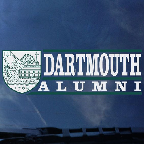 Exterior 'Dartmouth Alumni' decal with Dartmouth shield in green and white