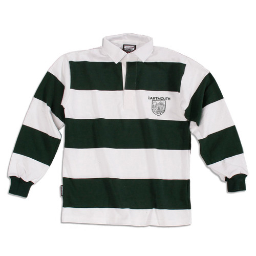 Green and white striped long sleeve rugby jersey with 'Dartmouth' and Dartmouth shield on the left in green