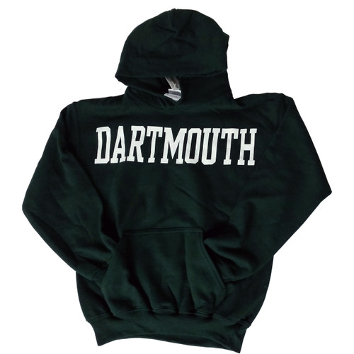 Youth green hooded sweatshirt with 'Dartmouth' across the chest in white