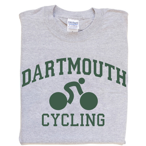 Grey short sleeve tee with 'Dartmouth Cycling' across the chest in green