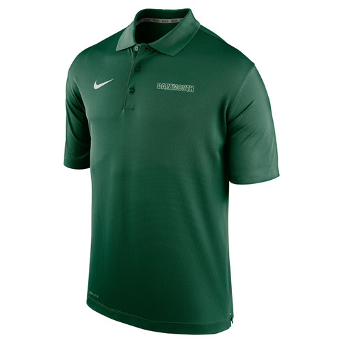 Men's Nike green polo with white Nike swoosh on the right and 'Dartmouth' on the left in green and white