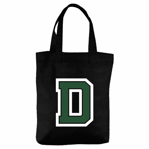 Black Cotton Tote Bag with Block D Dartmouth
