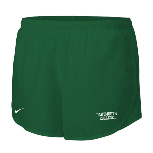 Women's Nike green athletic shorts with white Nike swoosh on the right and 'Dartmouth College' on the left in white