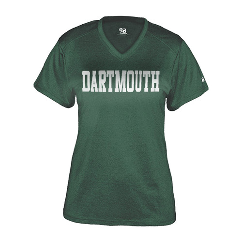 Women's green v-neck short sleeve tee with 'Dartmouth' across the chest in white