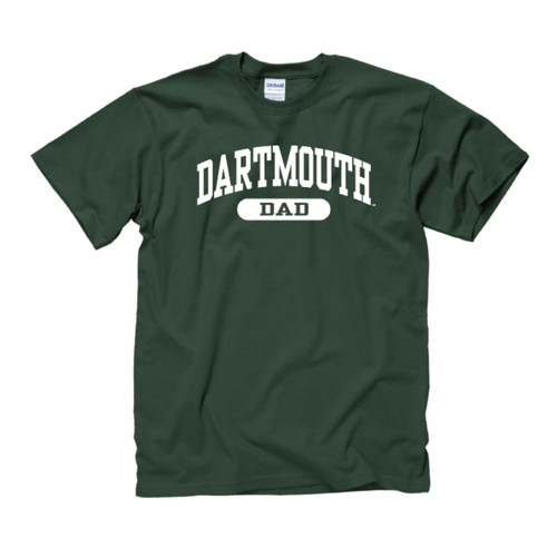 Green short sleeve tee with 'Dartmouth Dad' across the chest in white