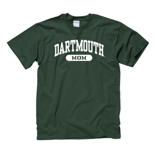 Green short sleeve tee with 'Dartmouth Mom' across the chest in white