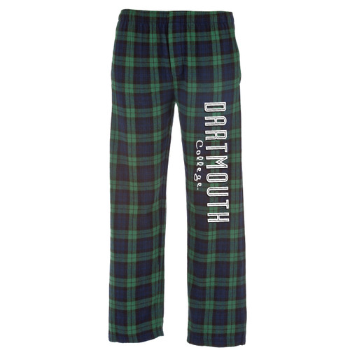Green blackwatch plaid pajama pants with 'Dartmouth College' down the left in white